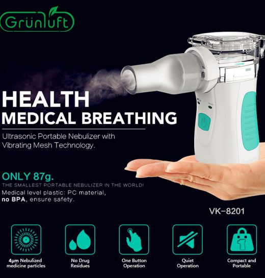 Portable Mesh Nebulizer Ultrasonic Handheld Facial Steamer Mist Inhaler Vaporizer Suit USB15